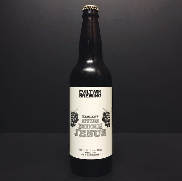 Evil Twin Harlans Even More Jesus Imperial Stout aged in Red Wine Barrels USA Vegan friendly.