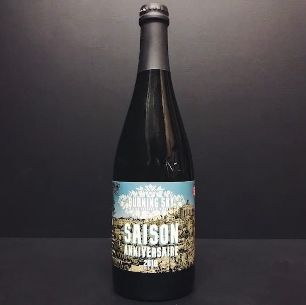 Burning Sky Saison Anniversaire 2018 aged and fermented in French Chardonnay barriques Sussex vegan friendly