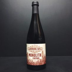 Burning Sky Vintage Monolith Vatted black beer aged on oak for 2 years. Sussex vegan friendly