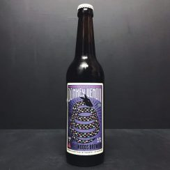 Bellwoods Donkey Venom Barrel Aged Sour ale with Black Currant. Canada vegan