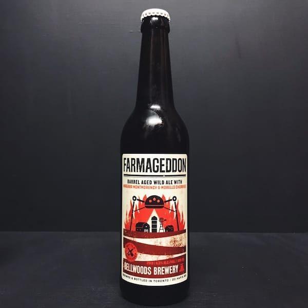 Bellwoods Farmageddon Niagara Montmorency Morello Cherries 2019 Barrel Aged Wild Ale with Niagara Montmorency & Morello Cherries. Canada vegan