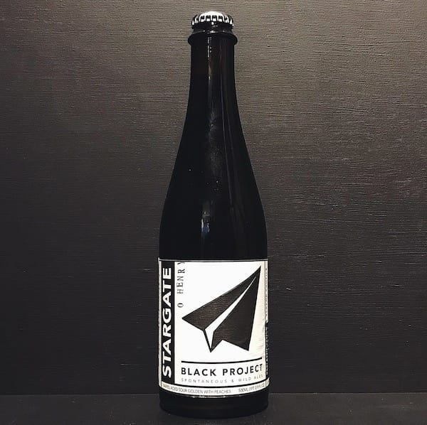 Black Project Stargate O Henry 2018 Barrel Aged Sour Golden Ale with Peaches. USA vegan