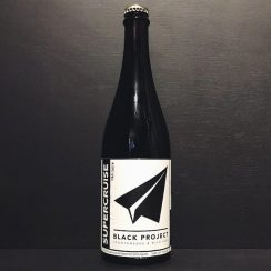 Black Project Supercruise Cab Sauv Sour Golden Ale refermented with grapes. USA vegan