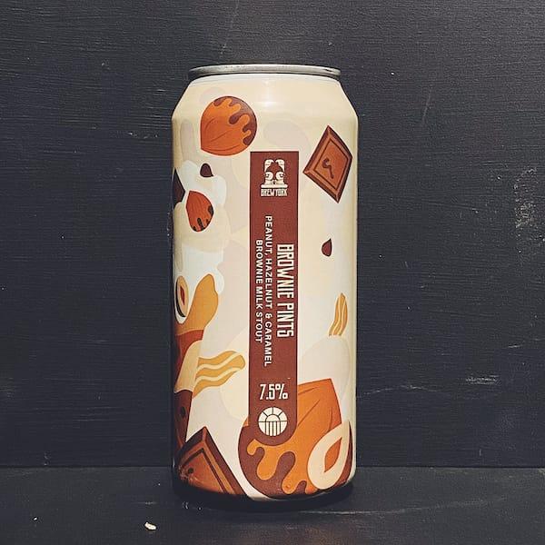 Brew York Brownie Pints Imperial Peanut, Hazelnut & Caramel Brownie Milk Stout.
