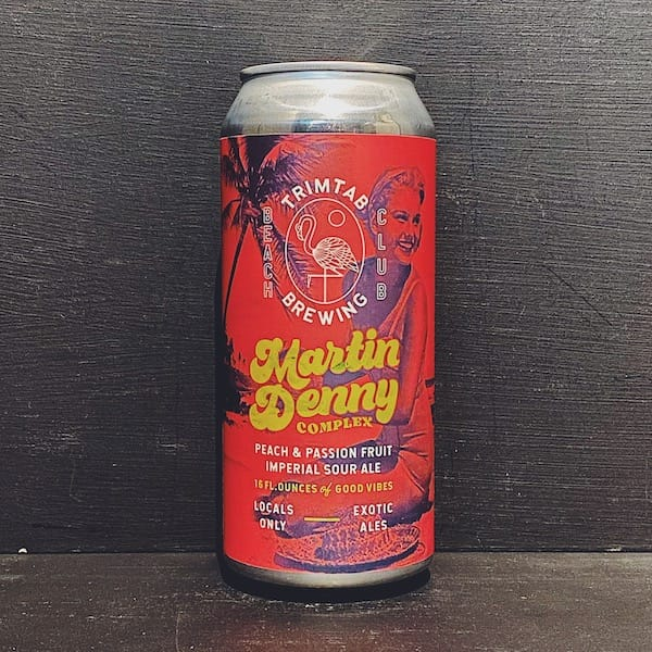 Trim Tab Martin Denny Complex Imperial Sour crafted with Passionfruit, Peach and Vanilla. USA vegan