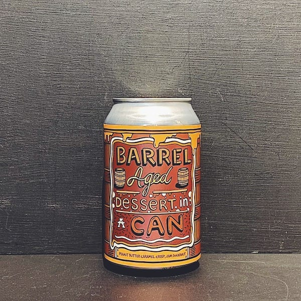 Amundsen Barrel Aged Dessert In A Can Peanut Butter Caramel Crisp Jam Doughnut. Imperial Pastry Stout. Contains lactose. Norway