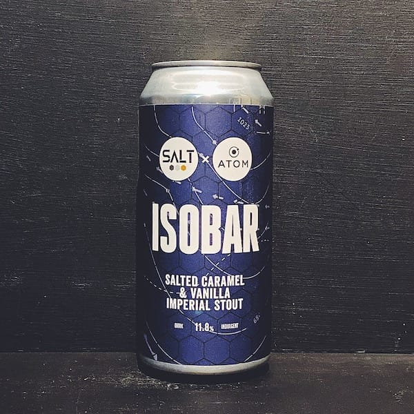Salt Beer Factory Isobar Salted Caramel & Vanilla Imperial Stout. Collab with Atom. Yorkshire vegan