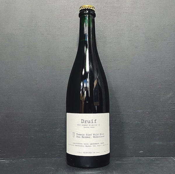 Tommie Sjef Wild Ales Druif 2020 Sour/Wild Ale with organic winegrapes. Netherlands vegan friendly