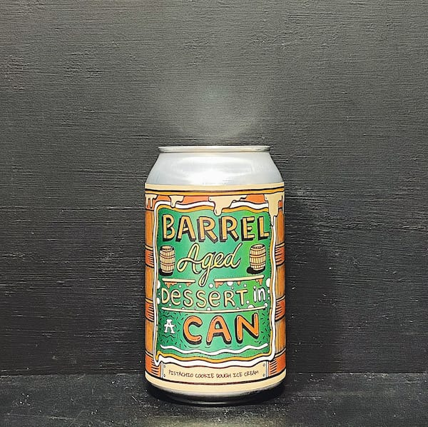 Amundsen Barrel Aged Dessert In A Can Pistachio Cookie Dough Ice Cream. Imperial Pastry Stout Norway