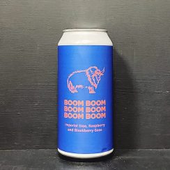 Pomona Island Boom Boom Boom Boom Boom Boom Imperial Sloe, Raspberry and Blackberry Gose. Salford vegan