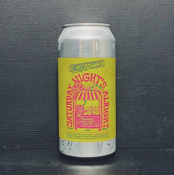 Neon Raptor Saturday Nights Alright Raspberry Lemonade Sour IPA Nottingham vegan