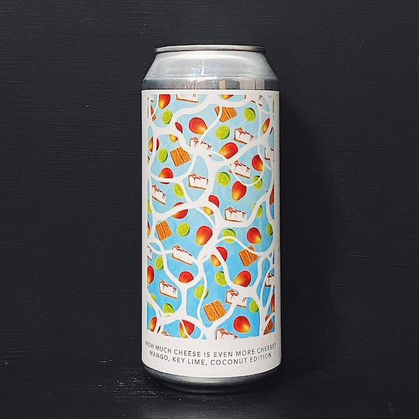 Evil Twin NYC HOW MUCH CHEESE IS EVEN MORE CHEESE? MANGO KEY LIME COCONUT EDITION Sour Ale with Mango, Key Lime, Coocnut, Vanilla, Graham Cracker, Cream Cheese & Milk sugar. USA